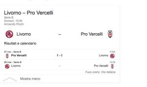 Livorno-Pro Vercelli streaming-diretta tv, dove vedere Serie B