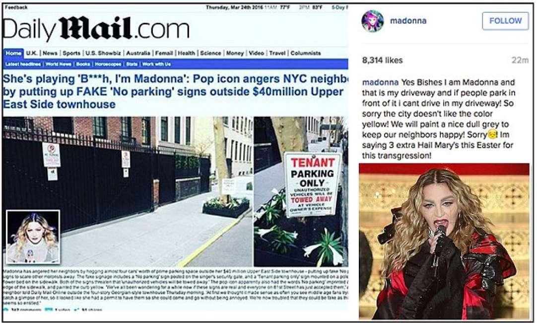 """Madonna, divieto abusivo di parcheggio: """"Str...strada è mia"""""""