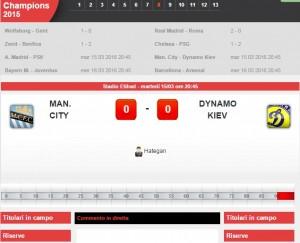 Manchester City-Dinamo Kiev: diretta live ottavi Champions su Blitz con Sportal