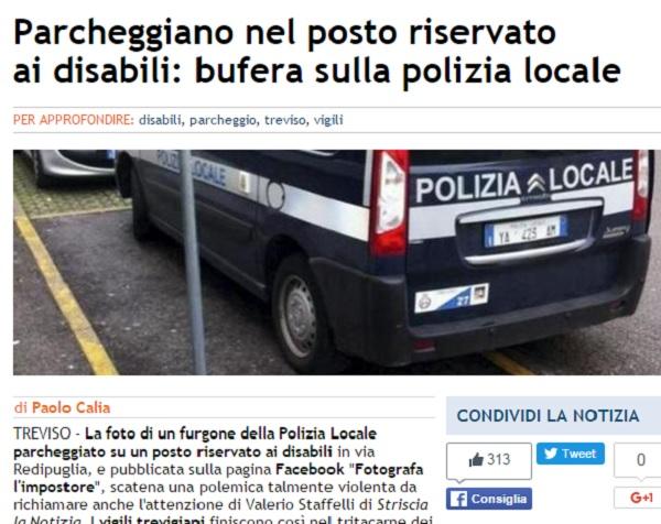 Treviso, auto polizia su posto disabili FOTO: polemica