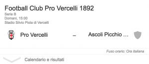 Pro Vercelli-Ascoli streaming-diretta tv, dove vedere Serie B