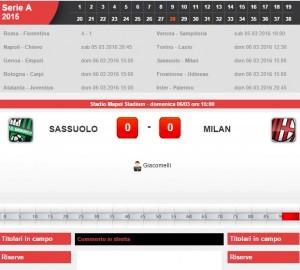 Sassuolo-Milan: diretta live su Blitz 28a giornata serie A