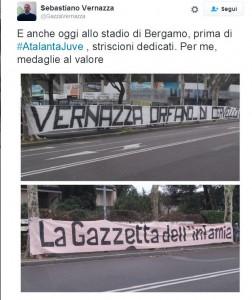 Guarda la versione ingrandita di Striscioni contro Vernazza e la Gazzetta esposti allo stadio di Bergamo prima di Atalanta-Juventus (@GazzaVernazza twitter)