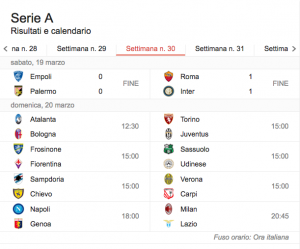 Serie A, la trentesima giornata su BlitzQuotidiano
