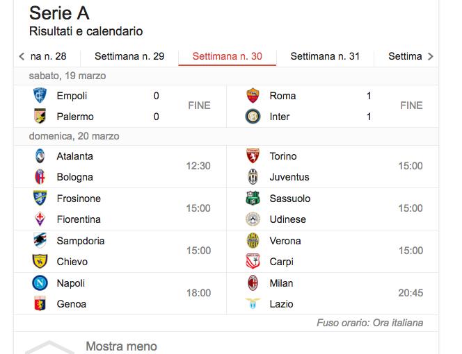 Serie A, il programma della trentesima giornata