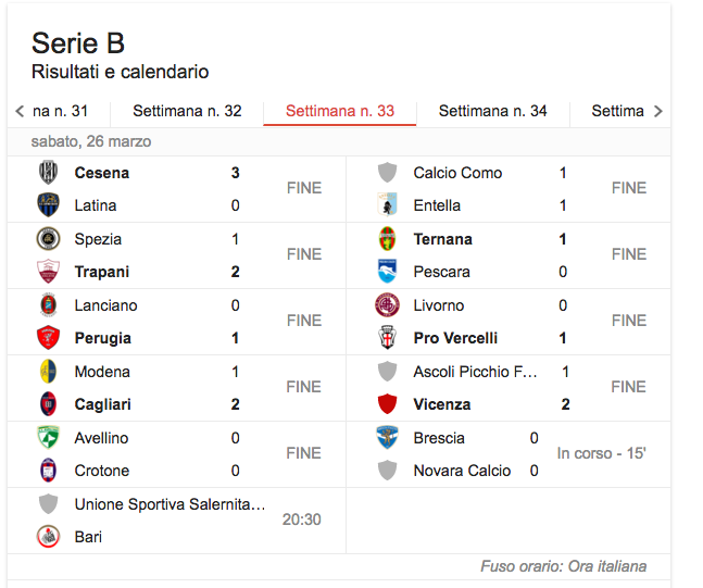 Serie B, il programma della 33esima giornata