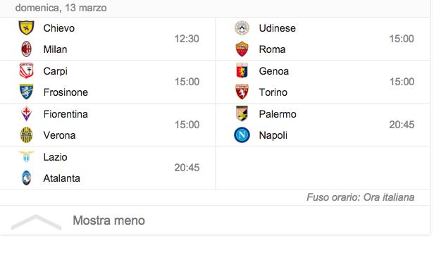 Serie A, il programma della ventinovesima giornata