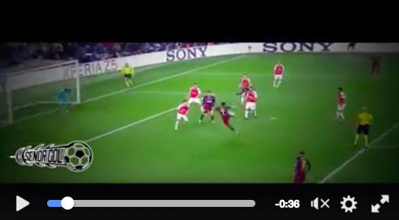 Suarez video gol rovesciata Barcellona-Arsenal 3-1