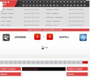 Udinese-Napoli: diretta live Serie A. Formazioni ed info