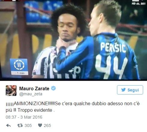 """Zarate contro Lega Calcio, ritwitta offesa """"sono maiali"""" 02"""