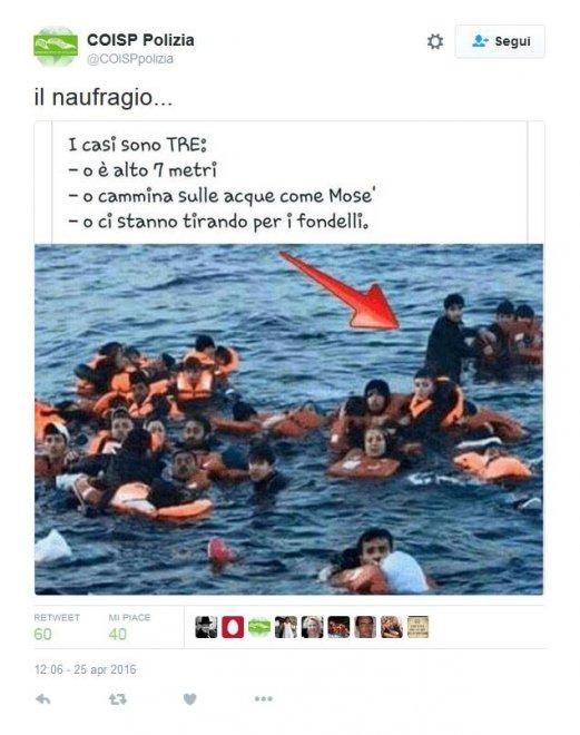 """Migranti, sarcasmo Coisp su naufraghi: """"Ci prendono in giro"""" 01"""
