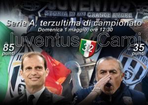 Juventus-Carpi, diretta. Formazioni ufficiali e video gol