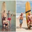 Marine in posa con tavola da surf stessa FOTO 50 anni dopo