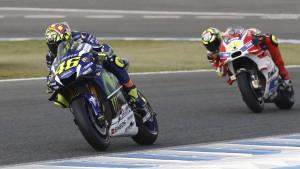 Guarda la versione ingrandita di Moto Gp Spagna, Valentino Rossi vince, poi Lorenzo e Marquez