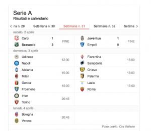 Serie A streaming diretta live 31esima giornata