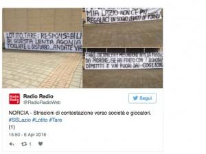 """Lazio, contestazione tifosi a Norcia: """"Lotito-Tare via"""""""