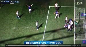 Guarda la versione ingrandita di Diakite video gol Sampdoria-Lazio con Goal Line Technology