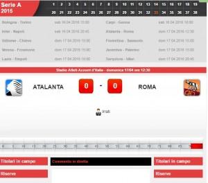 Atalanta-Roma: diretta live serie A su Blitz. Formazioni