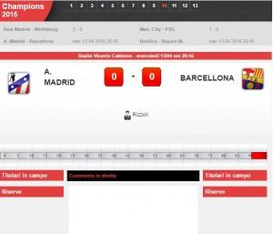 Atletico Madrid-Barcellona: diretta live Champions su Blitz