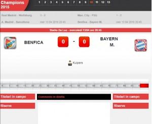 Benfica-Bayern Monaco: diretta live Champions su Blitz