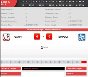 Carpi-Empoli: diretta live serie A su Blitz