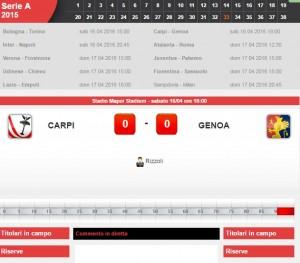 Carpi-Genoa: diretta live serie A su Blitz. Formazioni