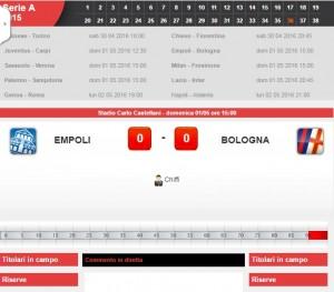 Empoli-Bologna: diretta live serie A su Blitz