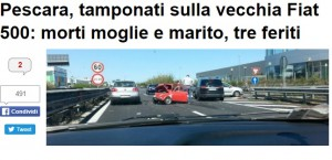Pescara, tamponata vecchia Fiat 500: morti moglie e marito