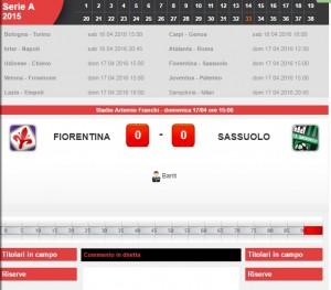 Fiorentina-Sassuolo: diretta live serie A su Blitz. Formazioni