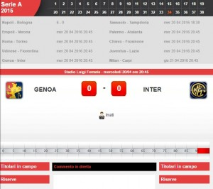 Genoa-Inter: diretta live serie A su Blitz