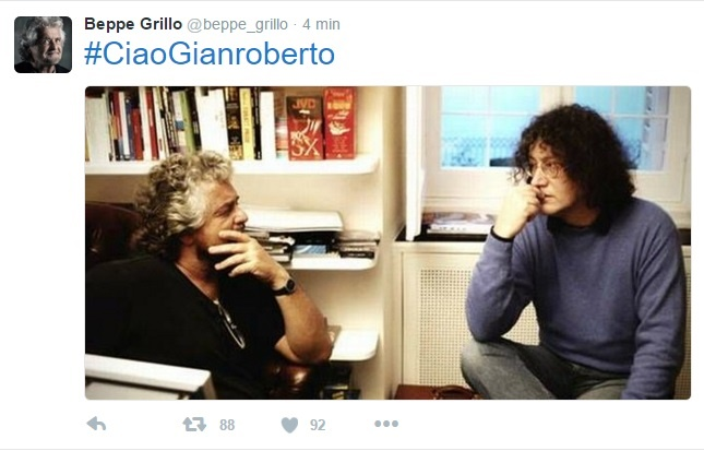 Gianroberto Casaleggio, Beppe Grillo twitta FOTO insieme