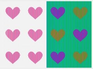 Illusione ottica: di che colore sono i cuori2
