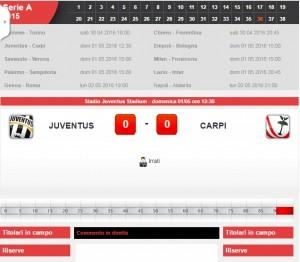 Juventus-Carpi: diretta live serie A su Blitz