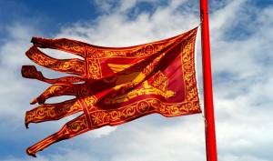 Treviso, bruciano tricolore e appendono Leone di San Marco