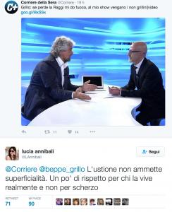 """Lucia Annibali contro Grillo: """"Sulle ustioni non si scherza"""""""