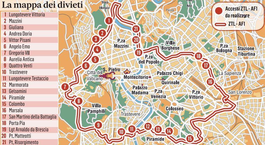 Cartina Ztl Roma.Ztl Roma Mappa Nuovi 21 Varchi Ma Solo Solo Per