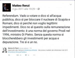 Acqua pubblica, referendum 2011: Renzi su facebook scrisse...