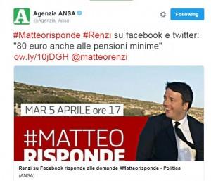 """Pensioni, Renzi: """"Allo studio 80 euro a pensioni minime"""""""