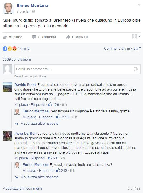 Enrico Mentana, post Facebook sui migranti scatena... 01