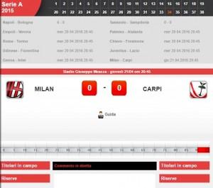 Milan-Carpi: diretta live serie A su Blitz