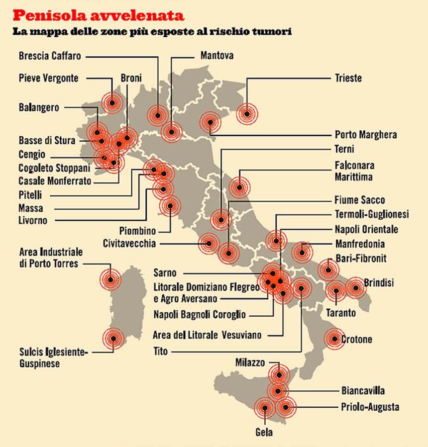 Tumori, le 44 aree d'Italia più inquinate 01