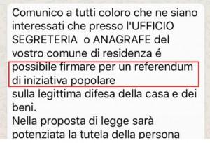"""Referendum trucco: """"Firma anche tu!"""". Costituzione Whatsapp"""