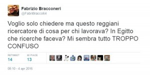 Fabrizio Bracconeri, gaffe su Giulio Regeni su Twitter