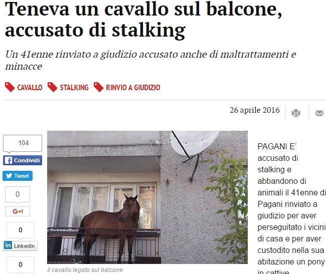 Salerno, teneva un cavallo in balcone: denunciato FOTO