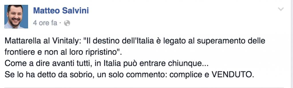 """Migranti, Salvini a Mattarella: """"Venduto"""". """"Parlavo di vino"""""""