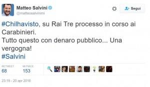 Schiaffo carabiniere su Chi l'ha visto, e Salvini twitta...