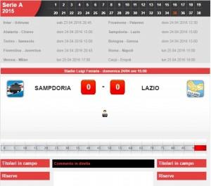 Sampdoria-Lazio: diretta live serie A su Blitz