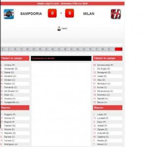 Sampdoria-Milan: diretta live serie A su Blitz. Formazioni