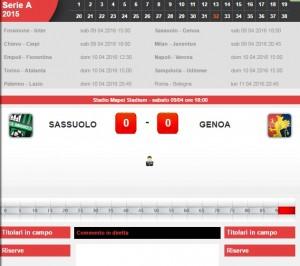 Sassuolo-Genoa: diretta live serie A su Blitz. Formazioni