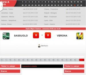 Sassuolo-Verona: diretta live serie A su Blitz